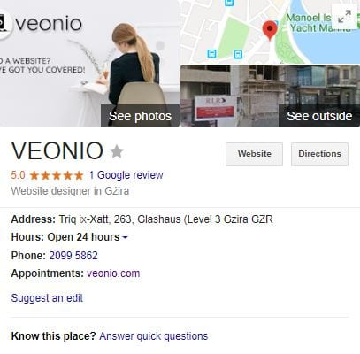 Google My Business VEONIO Address